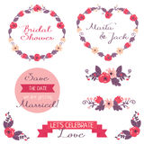 Wedding graphic set. Frames, ribbons, labels and flowers. Vector illustration, floral design royalty free stock photos