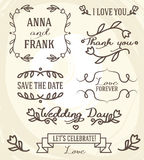 Wedding graphic set: frames, ribbons, labels and flowers
