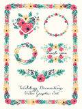 Wedding graphic set: frames, wreath and flowers. Vector illustration, floral design stock photos