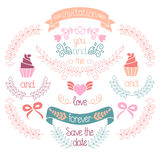 Wedding graphic set, laurel, wreaths, ribbons,heart, cupcakes, bows, flowers and labels in vector. Stock Photo