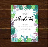 Wedding graphic set with succulents,wreath and glass terrariums Royalty Free Stock Photos