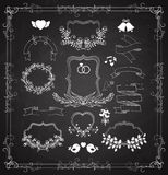 Wedding graphic set with wreaths and ribbons Stock Photos