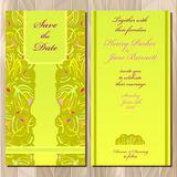 Wedding green card design. Royalty Free Stock Images