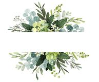 Wedding greenery frame. Watercolor illustration with eucalyptus. twigs. Wedding greenery frame. Watercolor illustration with eucalyptus vector illustration