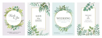 Wedding greenery posters. Floral green invitation cards with rustic garden branches and leaves. Vector trendy eucalyptus