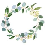 Wedding greenery wreath. Watercolor illustration with eucalyptus.  vector illustration