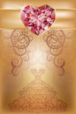 Wedding greeting card with ruby heart Royalty Free Stock Image