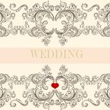 Wedding greeting invitation card with ornament Royalty Free Stock Images
