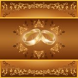 Wedding greeting or invitation card with rings Royalty Free Stock Photography