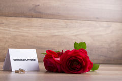 Wedding greetings - White card with Congratulations sign, weddin Stock Photo