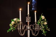 Wedding groom свечи и невесты Стоковое Изображение RF