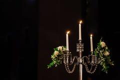 Wedding groom свечи и невесты Стоковое Фото