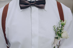 Wedding groom bowtie Stock Images