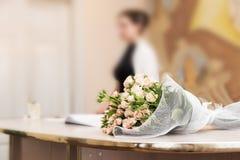Wedding groom bride bouquet Stock Image