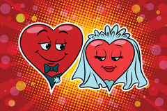 Wedding groom and bride, Valentine heart Stock Photos
