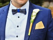 Wedding groom. Look at wedding groom, his flower and kerchief in the blue tuxedo Stock Images