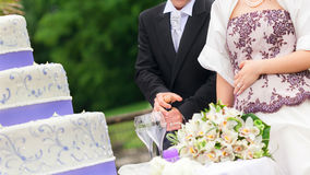 cut wedding cake stock images