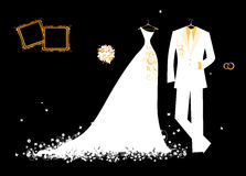 Wedding groom suit and bride's dress white Stock Photo