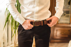 Wedding groom suit. White shirt, brown pants Royalty Free Stock Photos