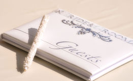 Wedding guest book. And pen Royalty Free Stock Images