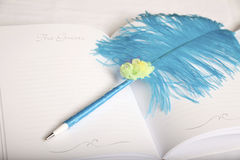 Wedding guest book with feather. Horizontal, color image of a wedding guest book with a blue feather pen royalty free stock photography