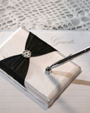 Wedding or guest book and pen Royalty Free Stock Images