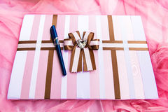 Wedding guest book with a pen Stock Image
