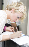 Wedding Guest Signing Wedding Guestbook Royalty Free Stock Photo