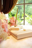 Wedding guestbook. Wedding table set up with flowers and book for guests to sign Stock Image