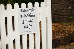 Wedding Guests Only. Sign indicating entrance for wedding guests Royalty Free Stock Images