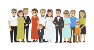 Wedding Guests Group Portrait Flat Vector Concept. Wedding guests group portrait. Smiling newlyweds with closest relatives and best friends standing together Royalty Free Stock Photo