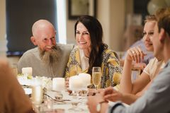 Wedding Guests Socialising At Dinner royalty free stock photo