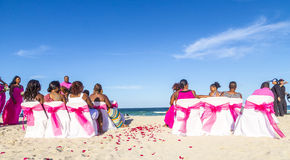 Wedding guests at South Beach in Miami Stock Photos