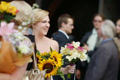 Wedding guests toasting bride and groom Stock Photography