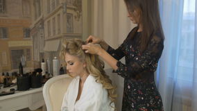 Wedding hairstyle for beautiful bride stock video