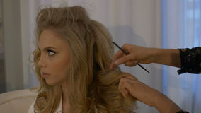 Wedding hairstyle for beautiful bride stock footage
