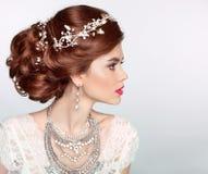 Wedding Hairstyle. Beautiful fashion bride girl model portrait. Royalty Free Stock Photos
