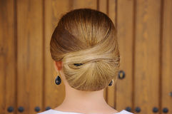 Wedding hairstyle with a bun Royalty Free Stock Photo