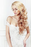 Wedding hairstyle. Portrait of the bride. Royalty Free Stock Image