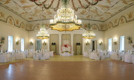Wedding hall. With a big lustre Stock Images