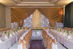 Wedding hall with decoration Stock Photography