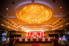 Wedding hall decoration. Hall decoration for wedding reception party Stock Photography