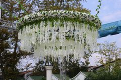 Wedding hall outside with flowers. stock photo