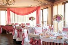 Wedding hall. Wedding preparation done at a fancy reception hall Royalty Free Stock Photo
