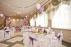 Wedding hall with spheres Royalty Free Stock Image
