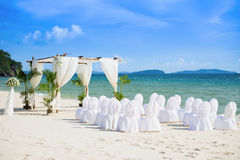 Wedding Hall. Wonderful sea view concept decoration for wedding on the beach at Sokha Beach resort, Sihanouk Ville, Cambodia Stock Photography