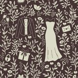 Wedding Hand Drawn Doodle Pattern. Royalty Free Stock Photos