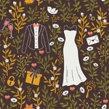 Pattern with Hand Drawn Wedding Symbols. Stock Images