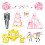 Wedding hand drawn watercolor elements. Illustration with watercolor Wedding elements isolated on white background Royalty Free Stock Photo