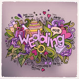 Wedding hand lettering and doodles elements Stock Photography